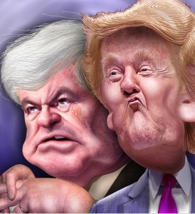 trump and gingrich by donkeyhotey