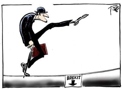 guardian brexit silly walk off a high wire