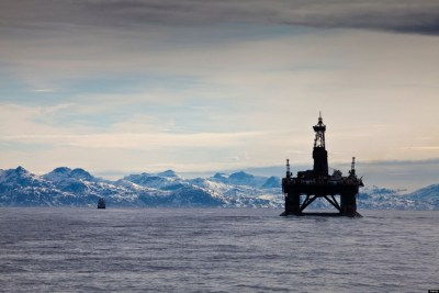 arctic oil drilling rig by alamy