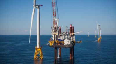Deepwater Wind farm under construction off Block Island
