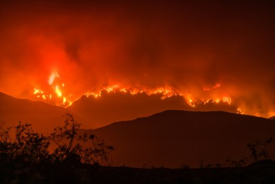 Whittier Fire, evening of July 13, 2017