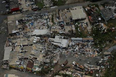 Hurricane Maria and Irma devastation on Puerto Rico
