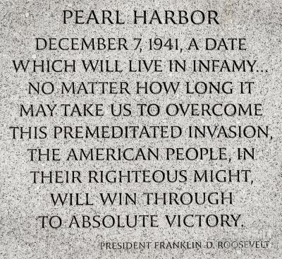 Roosevelt on Pearl Harbor. Why not for climate change?