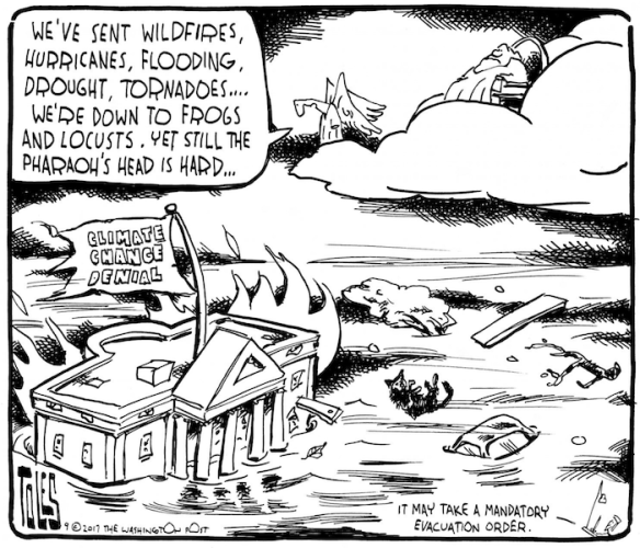 Tom Toles pharaoh plagues climate denial
