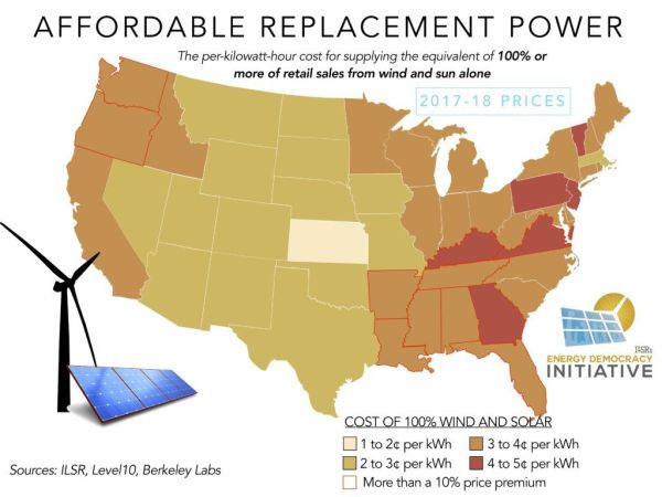 wind and solar energy costs by state map