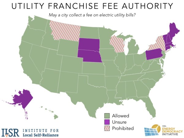 Map of states that collect electric utility franchise fees