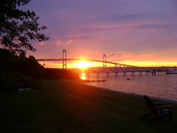 """Sunset over Newport Bridge,"" by Carolyn Fortuna"
