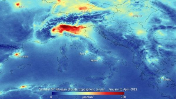 ESA Image of NOx Levels Over Italy