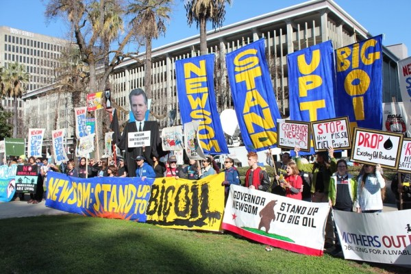 protesters ask Gov Newsom: Why is California expanding fracking even as oil prices collapse?