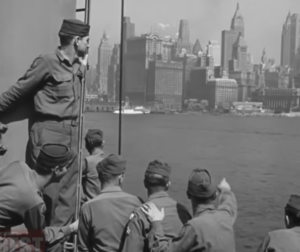 soldiers return home from WWII - US War Department image screencap