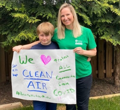 Sierra Club climate policy director Liz Perera with her son after they testified online Thursday.