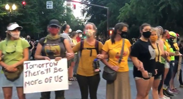 Portland Mothers Form Human Shield to Protect Protesters from Federal Agents