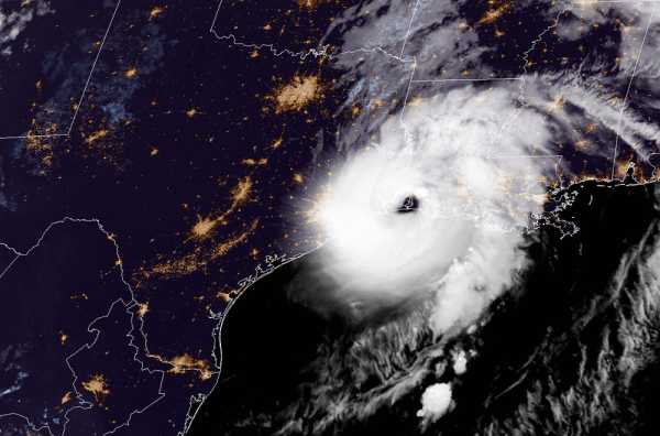 Hurricane Laura, seen here by GOES EAST on August, 27, 2020, at 2 A.M. ET.
