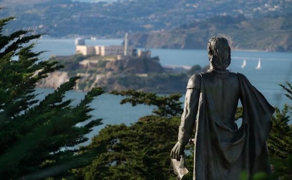 Christopher Columbus statue looking toward Alcatraz in San Francisco Bay
