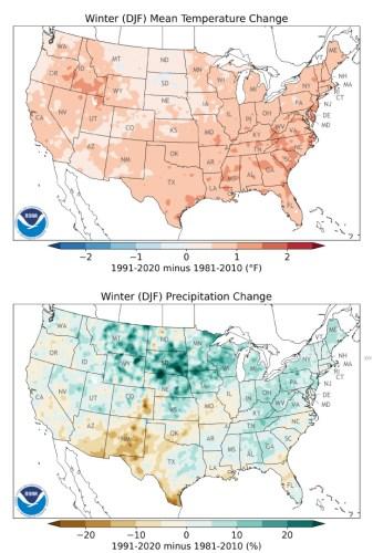 winter temperature and precipitation change NOAA