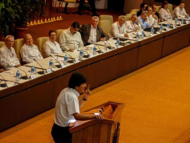 Evo Morales Ayma, presidente del Estado Plurinacional de Bolivia, en la plenaria especial sobre el pensamiento de Fidel, durante el XXIV Encuentro del Foro de Sao Paulo