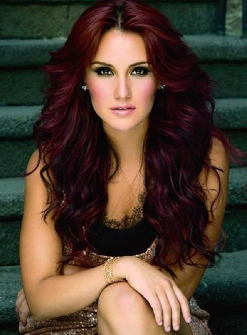 Long wavy hairstyle with burgundy hair color