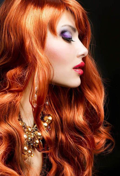 red long hairstyle