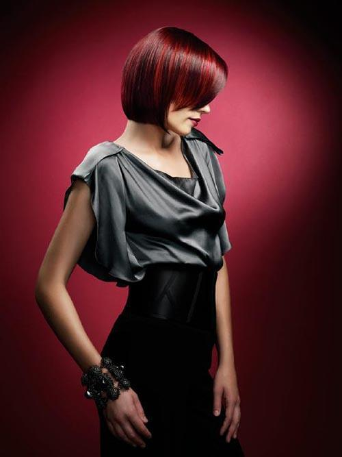 Short bob haircut with red hair color