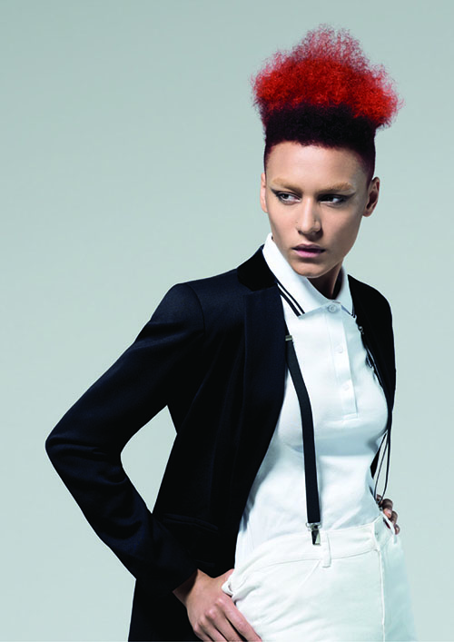A short red and black punk hairstyle