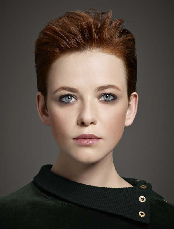 Short auburn haircut for women