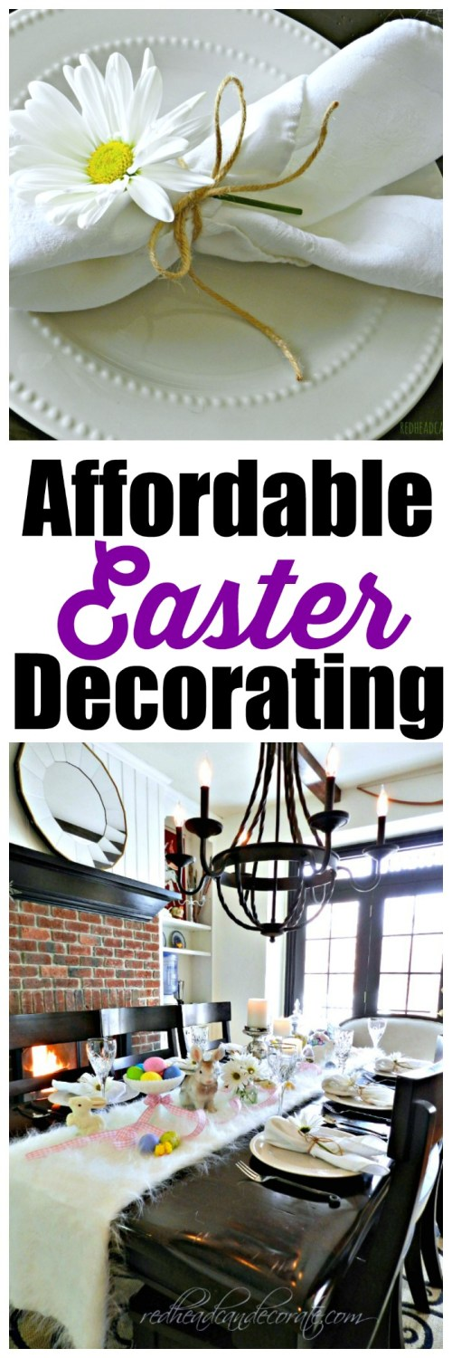 She used dollar store plates & thrift store ceramic bunnies.  There's also a butter lamb, and some other affordable Easter Decorating ideas I would have never thought of.
