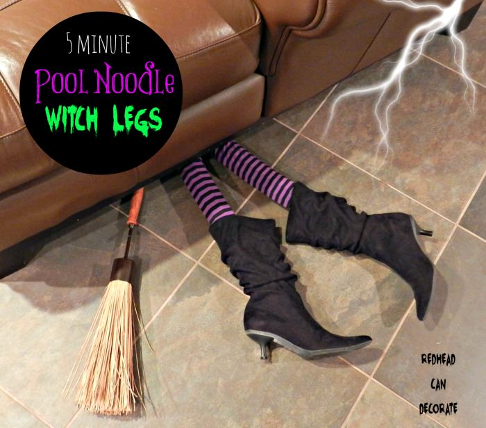 pool noodle witch legs