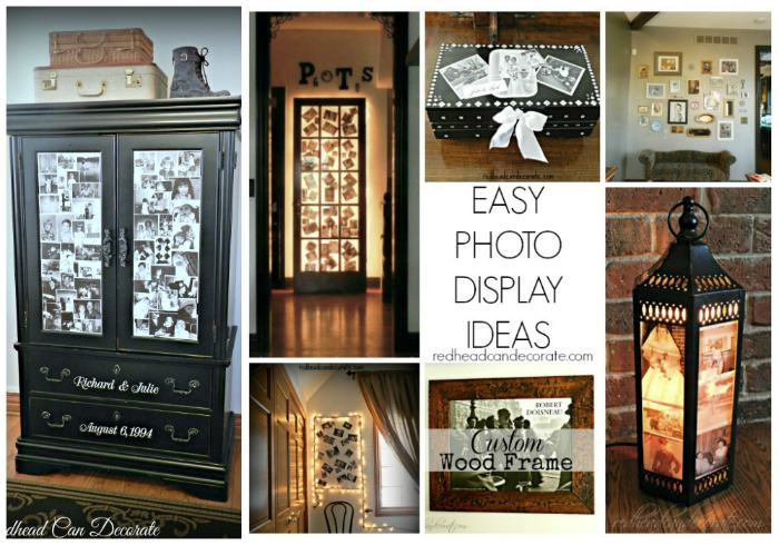 Easy Photo Display Ideas redheadcandecorate.com