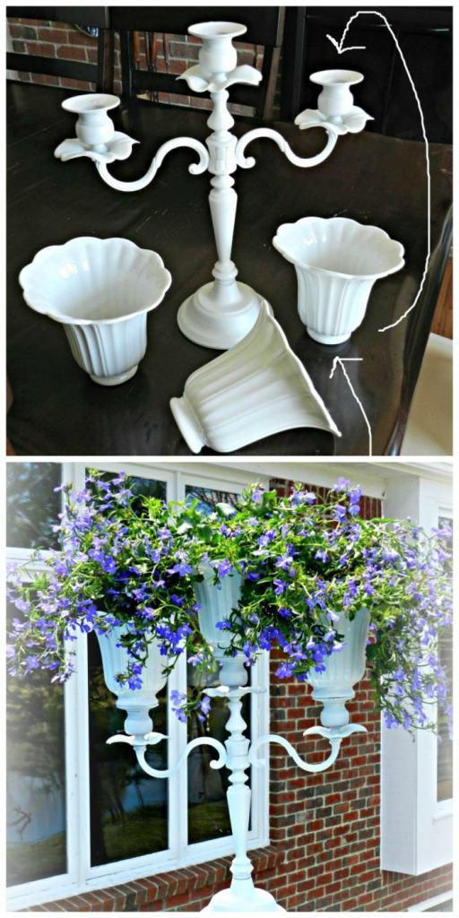 Diy Candelabra Flower Planter With Upcycled Ceiling Fan