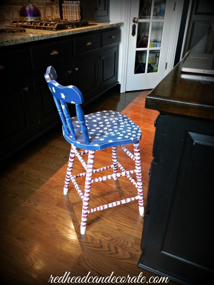 American Flag Stool Makeover