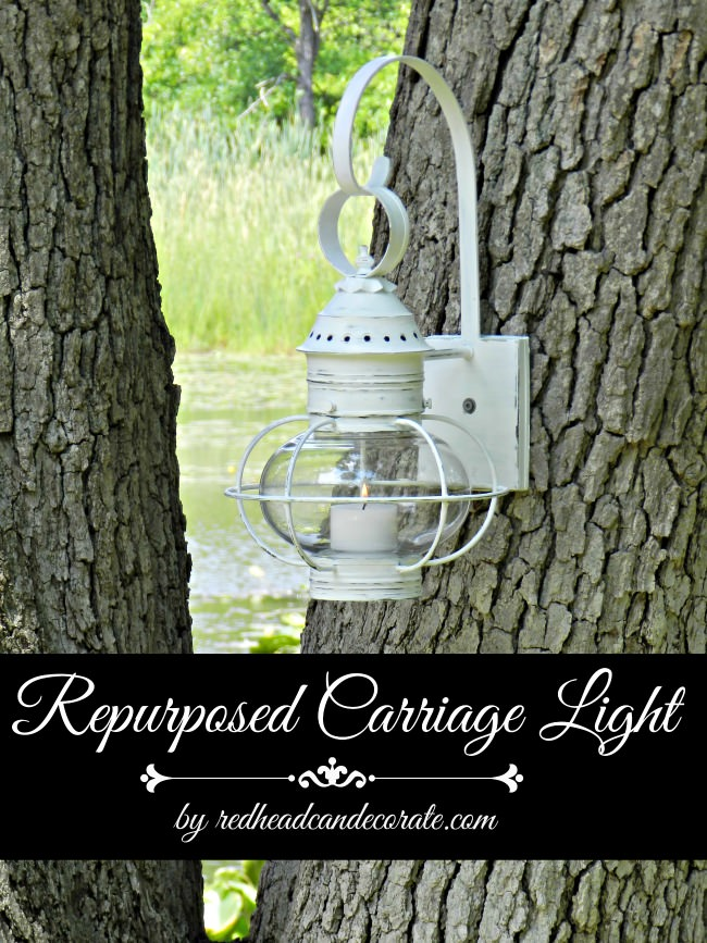 Repurposed Carriage Light Redhead Can Decorate