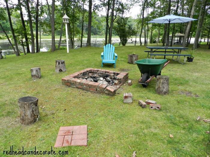 Fire Pit Makeover - Easy DIY Fire Pit Kit With Grill - Redhead Can Decorate
