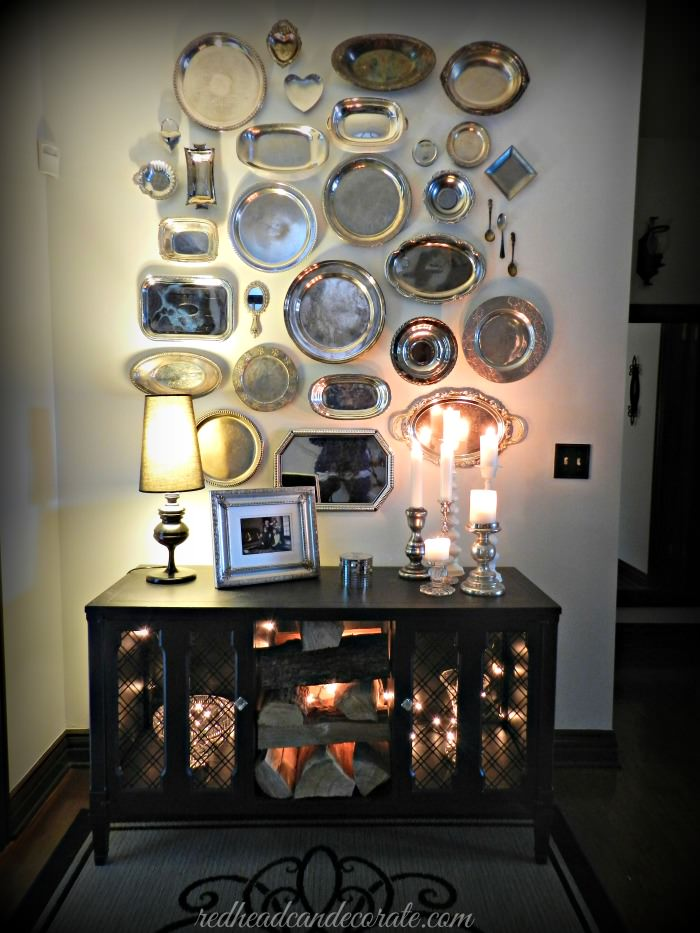 Thrift Store Silver Platter Wall - Redhead Can Decorate
