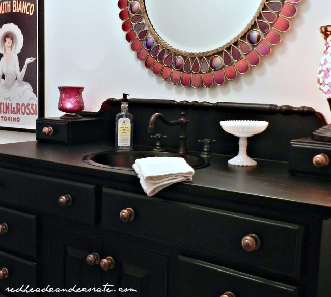 Beautiful Black Vanity with Behr Paint