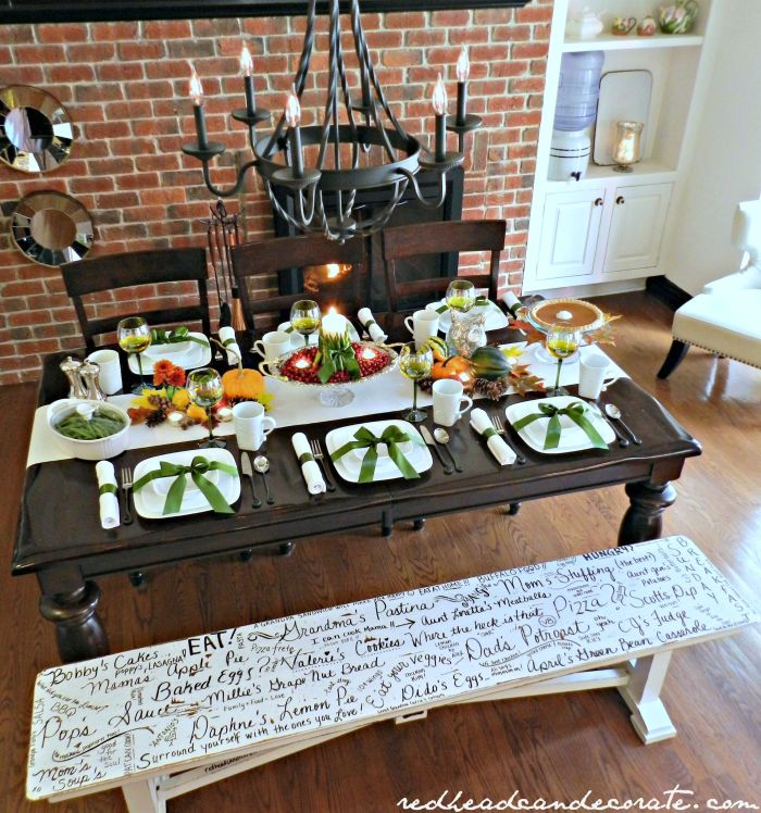 Beautiful Thanksgiving Table Decorated with Corelle Dishes & Corningware