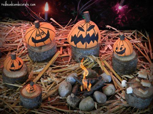 Rock Pumpkin Craft by redheadcandecorate.com