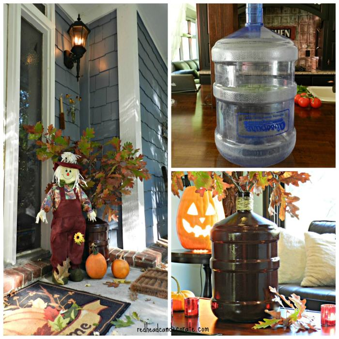 Transform one of those large water jugs by spray painting it!
