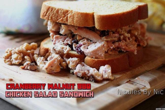 Cranberry Walnut BBQ Chicken Salad Sandwich