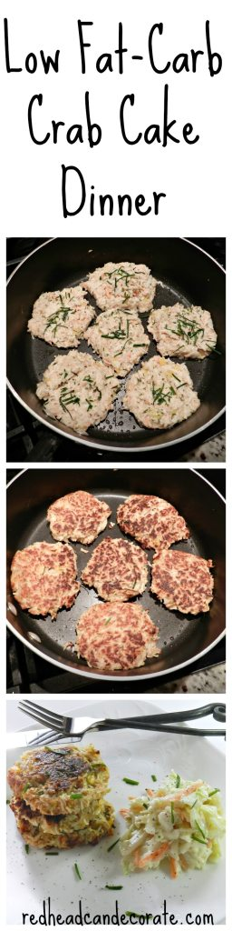 Low Fat:Carb Crab Cake Dinner complete with tangy slaw, and baked French fries if desired.