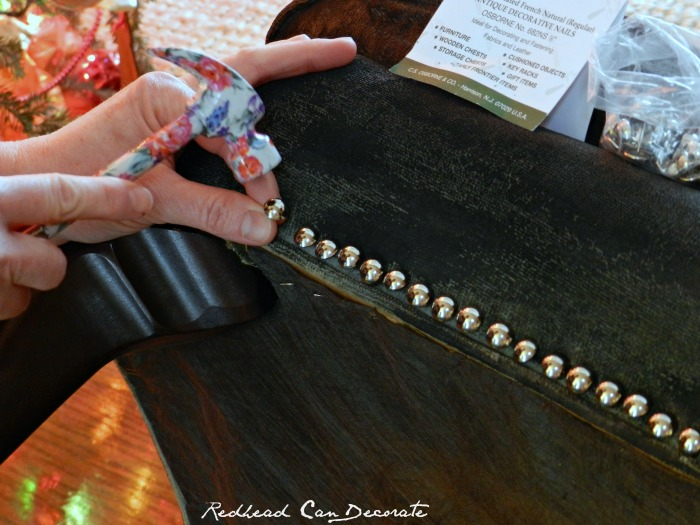 Adding upholstry nails is easy!