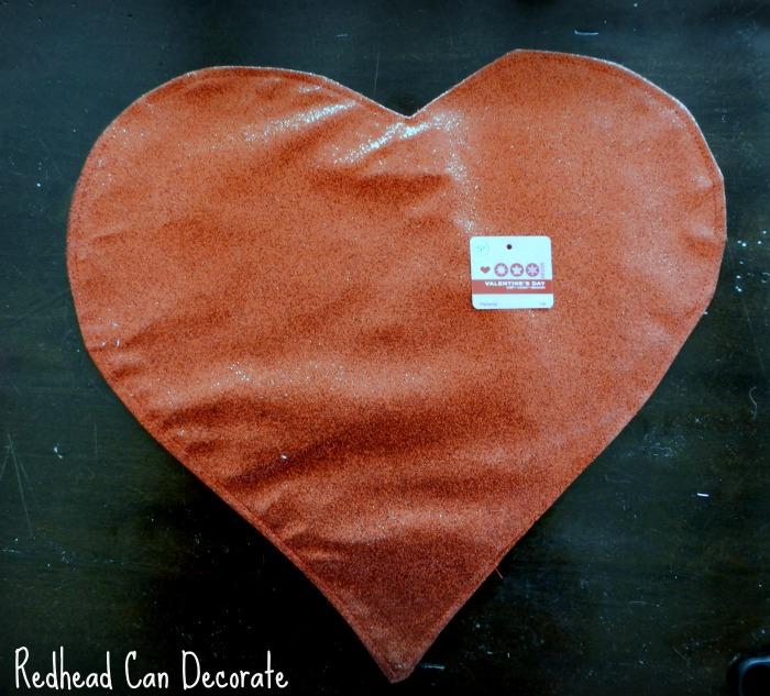 Heart Place Mat Turned Pillow