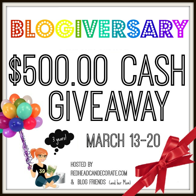 Redhead Can Decorate 3 Year Blogiversary $500 Giveaway