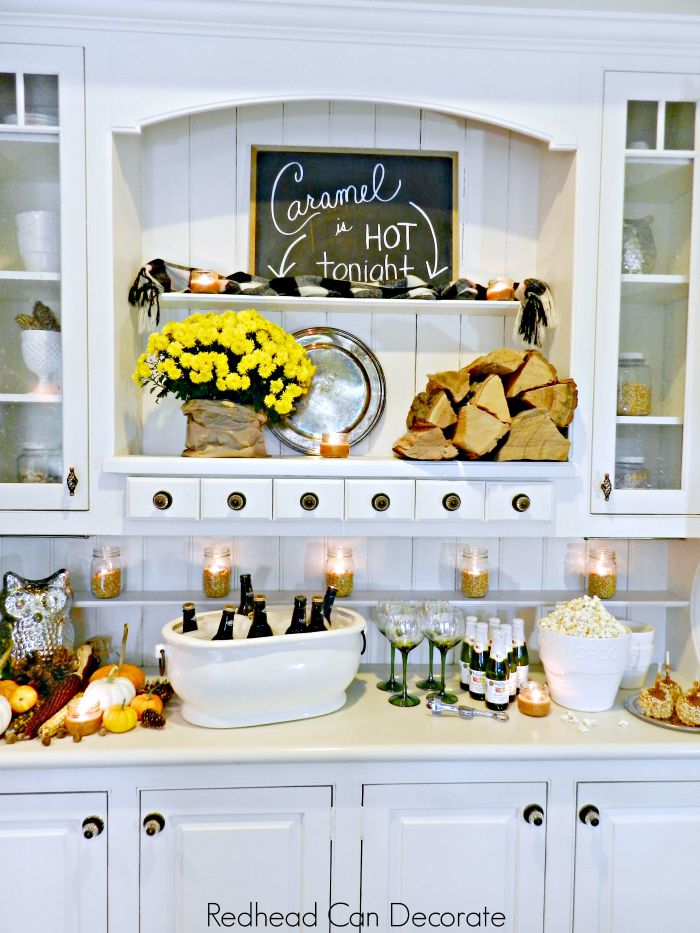 White Hutch Decorated for Fall