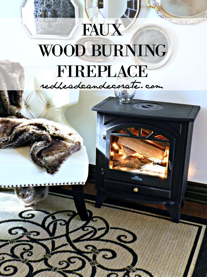 Faux Wood Burning Fireplace