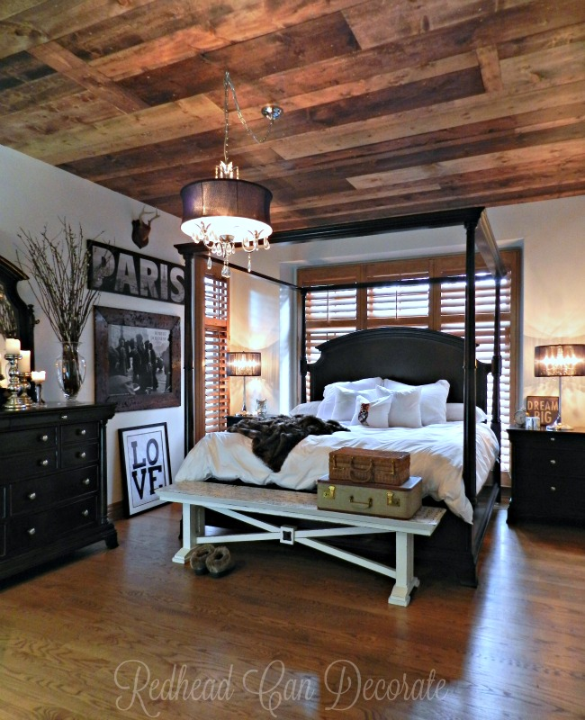 Wood Planked Ceiling Master Bedroom
