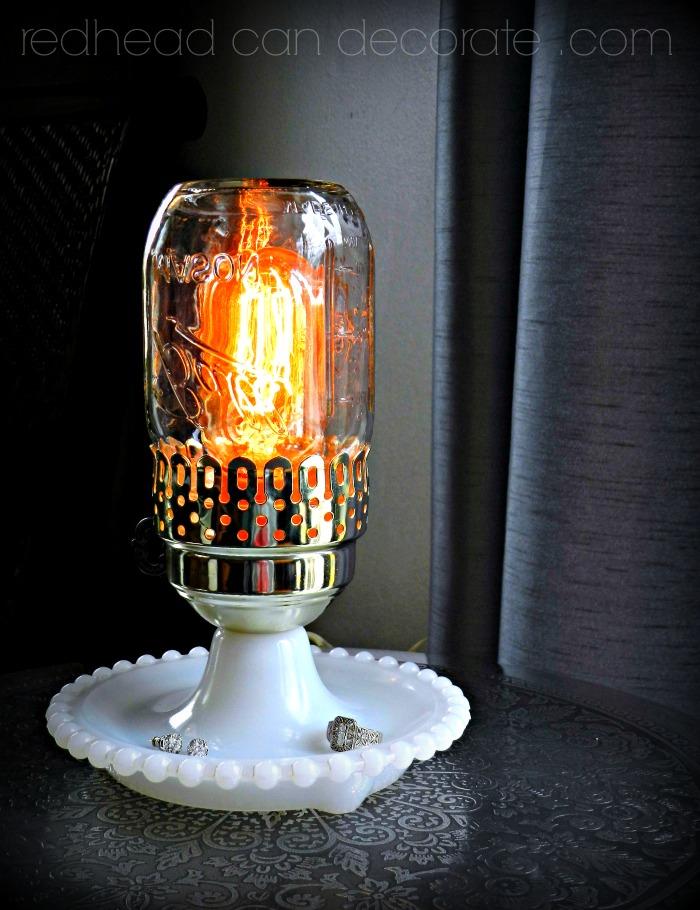 Vintage Mason Jar Hobnail Light