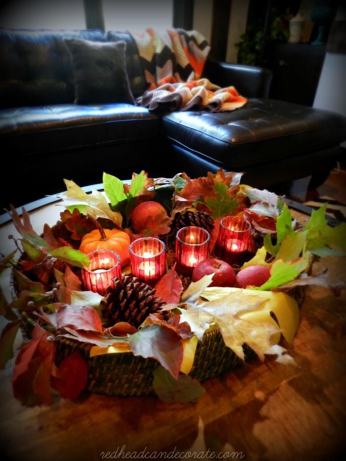 Rattan Tray Fall Centerpiece