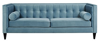 This powder blue velvet sofa is gorgeous! There are more colors, too!