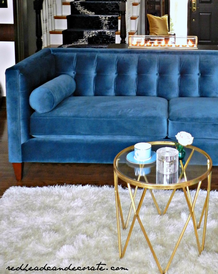 My Teal Blue Velvet Sofa
