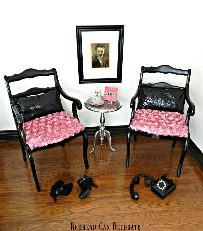 Gorgeous black & pink chair makeover...